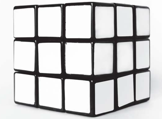 Black and white Rubik's cube